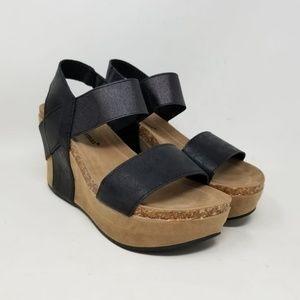 Pierre Dumas Hester Ramp Wedge Black Sandals Sz 7M